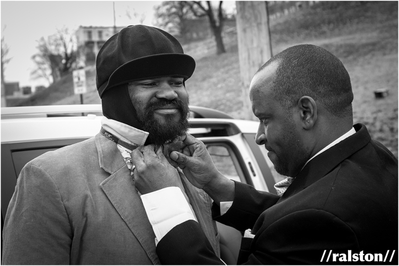 "gregory porter being prepped by his brother lloyd for the ""be good"" music video"
