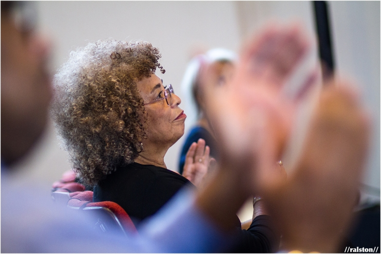 """angela davis waits to be introduced after the screening of the shola lynch's documentary film, """"free angela and all political prisoners"""""""