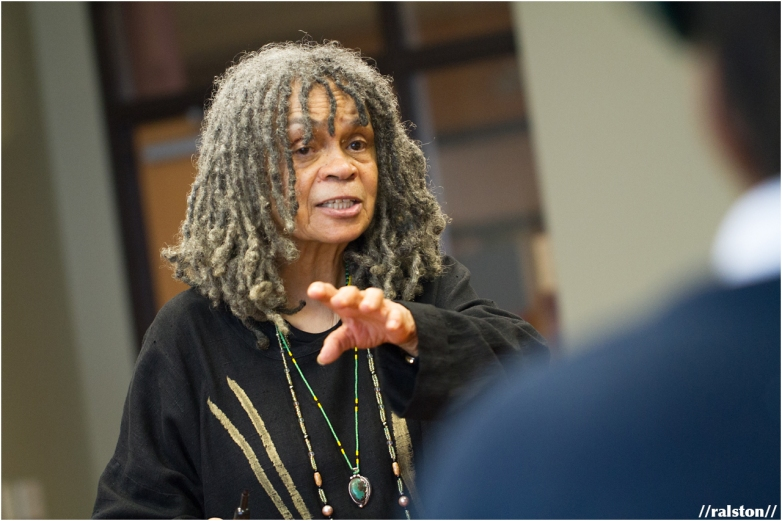 dr. sonia sanchez teaches a haiku workshop to young girls in dc